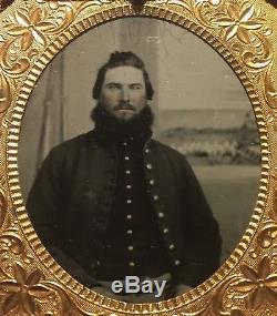 CIVIL War Soldiers Henry & John Kuntz Company E 78th Illinois Cased Tintypes