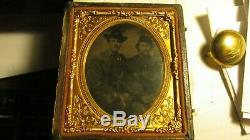 CIVIL War Tin Type Two Soldiers In Photo