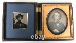 CIVIL War Tintype Daguerreotype Portrait Of Same Man Young Older In Uniform