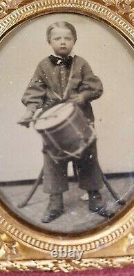 CIVIL War Tintype Drummer Boy 1/6 Plate In Full Case/nice Clean Image/photo