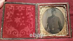 CIVIL War Tintype Soldier Armed I. D. Clawson, Manit0woc, Wisconsin