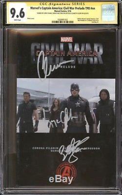 Captain America Civil War TPB Photo CGC 9.6 SS Signed Chris Evans, Stan, & Olsen