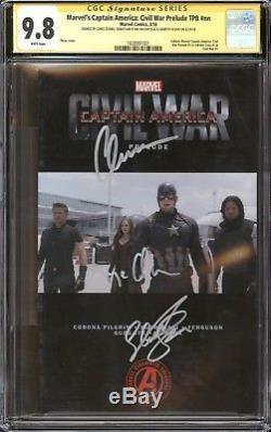 Captain America Civil War TPB Photo CGC 9.8 SS Signed Chris Evans, Stan, & Olsen