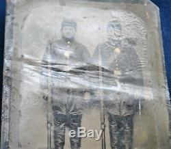Civil War 1/4 Plate Tin Type of Soldiers in Frock Coats with Rifled Muskets