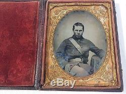 Civil War 1/4 Quarter Plate Tintype Cased Union Soldier Wearing Potsdam Bayonet