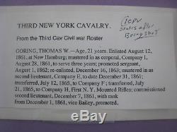 Civil War 1/4th Ambrotype, CDV. New York 3rd Cavalry. 2nd Lt. Thomas W. Goring