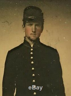 Civil War 1/6 Ambrotype Tinted Union Soldier