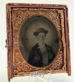Civil War 1/6 Plate Iron TinType Photo 17 Year Old Private Peter Richardson