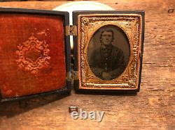 Civil War 5th Tenn Cavalry ID Soldier Tintype Photograph Original 1/9th plate
