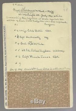 Civil War Albumen Alexander M McCook & Staff Autographed