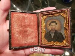 Civil War Ambrotype Id'd soldier Killed at Tupelo Mississippi in 1864 no uniform