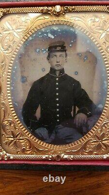 Civil War Ambrotype not Tintype Young Union Soldier