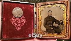 Civil War Ambrotype of Union Artillery Soldier Armed with ID Brooch made from coin
