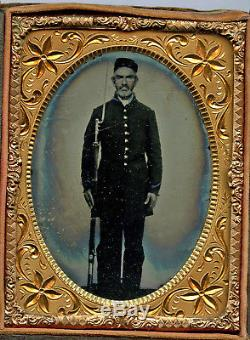 Civil War Armed Photo RUBY Ambrotype Indiana George Current withObit QUARTER PLATE