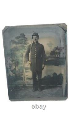 Civil War Armed Union Soldier Photo 1/4 Tintype Young Man with Sword