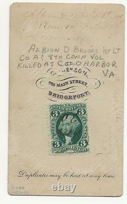 Civil War CDV Sgt Albion D Brooks 8th Connecticut Vols KIA Cold Harbor