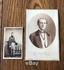 Civil War CDV Soldier Uniform & Kepi 89th Ohio John Peck & Cabinet Card signed