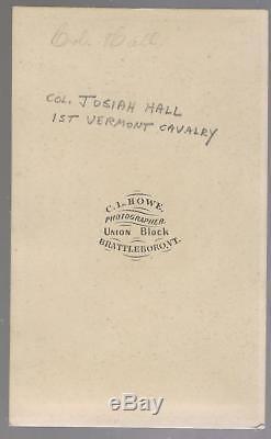 Civil War CDV Union Colonel Josiah Hall 1st Vermont Cavalry WIA Brandy Station