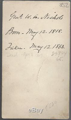 Civil War CDV of Colonel and Bvt Major General William Augustus Nichols