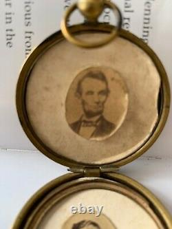 Civil War Campaign Photo Locket Abraham Lincoln George MCClellan Watch Fob