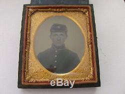 Civil War Cased One Sixth Daguerreotype Uniform Kepi Hat