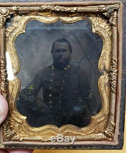 Civil War Confederate Officer 6th Plate Tintype Photograph
