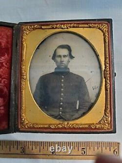 Civil War Confederate Soldier Tin Type Photo In Case with Name and History