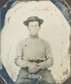 Civil War Confederate Tintype, 1/6 plate with Case