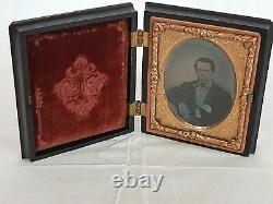 Civil War Daguerreotype Gold Frame Union Forever Black Bakelite Case WOW