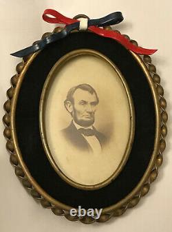 Civil War Era Abraham Lincoln CDV Photograph Antique Velvet Mourning Frame
