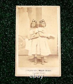 Civil War Era African American CDV Photo Freak Show Twins Two Headed Girl