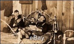 Civil War Era Men Sharing Bed Smoking Pipes Lanterns RPPC Real Photo Postcard