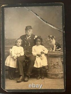 Civil War Era Original Photograph of Soldier With Black and White Girls and Dog