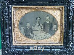 Civil War Era Quarter Plate MOM & KIDS Tin Type Photo Gutta Percha Frame XLNT