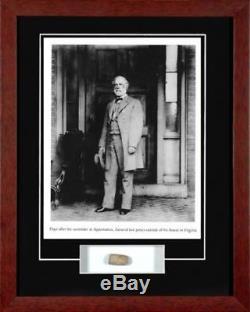 Civil War General Robert E. Lee Framed Photo With Antique Battlefield Bullet Coa