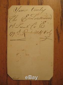 Civil War IDED SOLDIER CDV SIGNED CHAS. E. LOCKWOOD 179TH NY VOLS