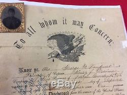 Civil War Lincoln 1st New York Volunteer Cavalry ID Discharge Papers & Tintype