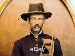 Civil War Musician Tintype. John T. Page 67th OVI. With Horn. 6th Plate Seated