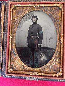 Civil War Period Tintype Of Sergeant Standing