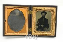 Civil War Photo 1/9th Ambrotype Grizzly Union Officer with Sword Interesting Case