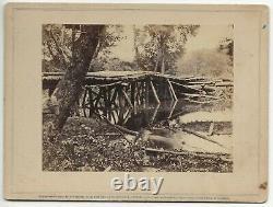 Civil War Rare Brady Album Gallery Card Military Bridge over the Chickahominy