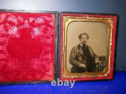 Civil War Soldier 1/6th size Tintype of man with Kepi on table