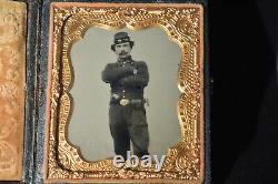 Civil War Soldier Officer 1/6 Ambrotype Photo Kepi, Colt Pistol, Bayonet RARE