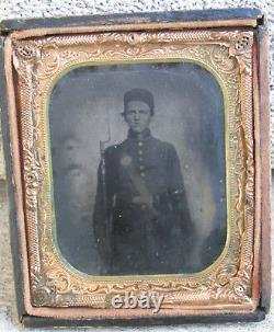 Civil War Soldier TinType Armed Rifle Young Boy Original Gun Graphic Neat