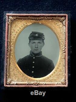 Civil War Soldier Union Tin Type Measures Closed 3 5/8 X 3 1/8