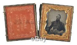 Civil War Solider Stonewall Jackson Look-a-Like Sixth-Plate Daguerreotype