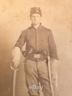 Civil War Stencil Identified CDV 3x Armed Oneida New York Independent Cavalry
