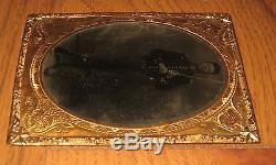 Civil War Tin Type Tinted Tintype Photograph Armed Young Union Cavalry Soldier