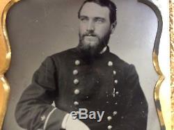 Civil War Tintype Of Naval Officer In Gutta Perch Case