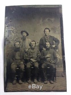 Civil War Tintype Photo Five Men One In Uniform Posing Together 6th Plate